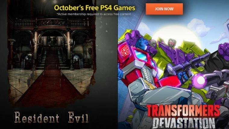 PS Plus   Resident Evil e Transformers: Devastation serão os jogos gratuitos em outubro