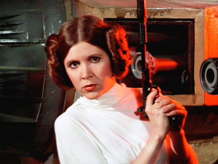 Carrie Fisher em Star Wars: Uma Nova Esperança 1977
