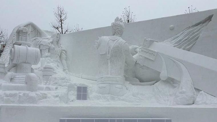Final Fantasy VII   Cloud e Sephiroth se enfrentam em enorme escultura de neve