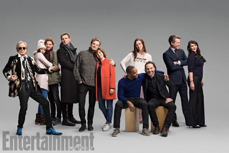 Love Actually Reunion The cast of the 2003 film Love Actually photographed by Mitch Jenkins on set of the sequel from February 15th to March 7th, 2017 for Red Nose Day/Comic Relief Charity. Bill Nighy, Olivia Olson, Thomas Brodie-Sangster, Liam Neeson, Colin Firth, Lúcia Moniz, Chiwetel Ejiofor, Keira Knightley, Andrew Lincoln, Hugh Grant, and Martine McCutcheon