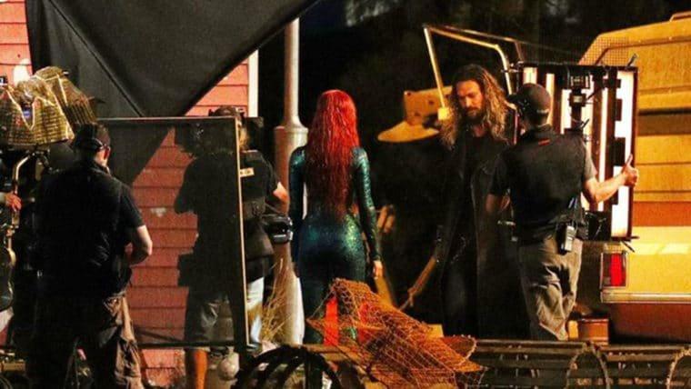 Aquaman | Amber Heard aparece ao lado de Jason Momoa em nova foto do set