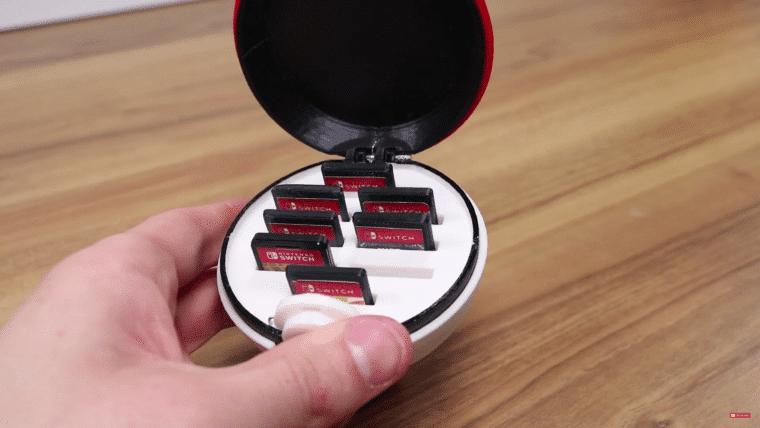 Esse cara imprimiu uma pokébola para guardar seus cartuchos de Nintendo Switch