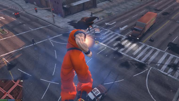 Esse mod criado por um brasileiro coloca o Goku em GTA V