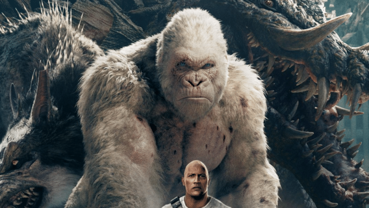 Rampage: Destruição Total    The Rock encontra criaturas ainda maiores em cartaz inédito