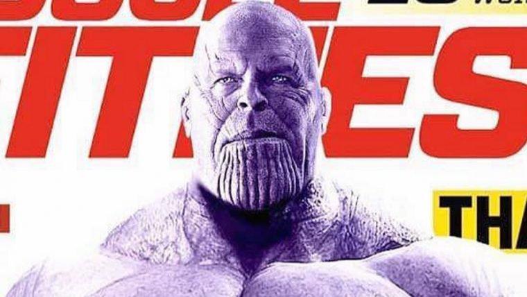Thanos estrela capa de revista de musculação em montagem