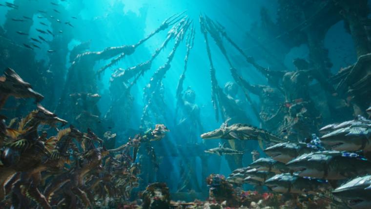 Tubarões de armadura estão prontos para batalha em nova foto de Aquaman