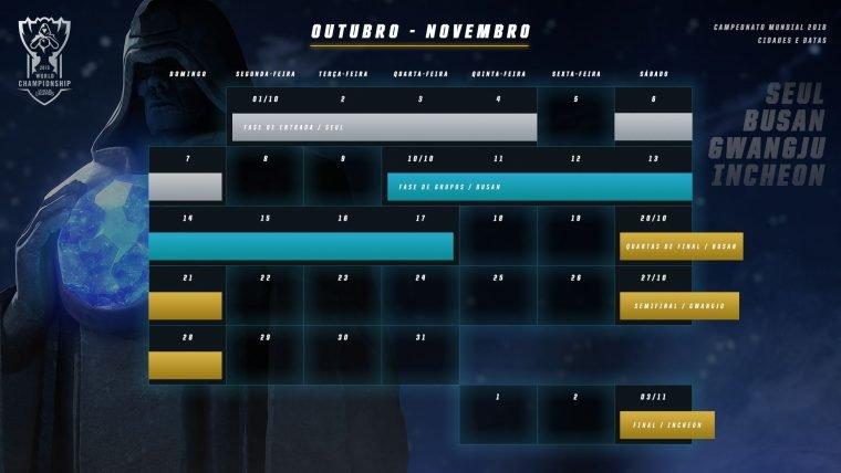 Calendário do Mundial de League of Legends 2018