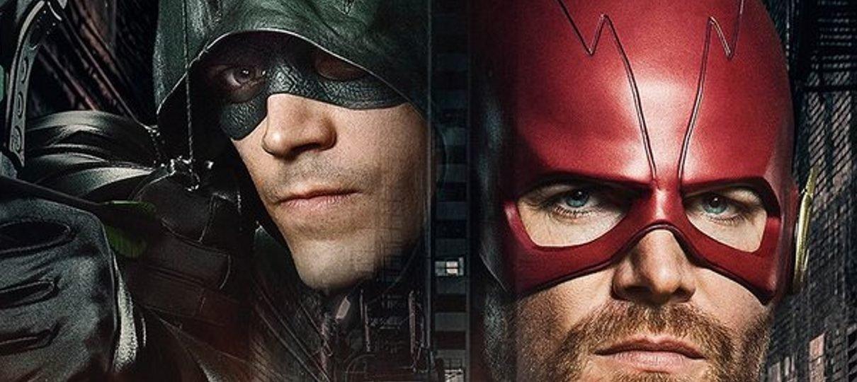 Arrow vira Flash e Flash vira Arrow em pôster do crossover das séries da DC