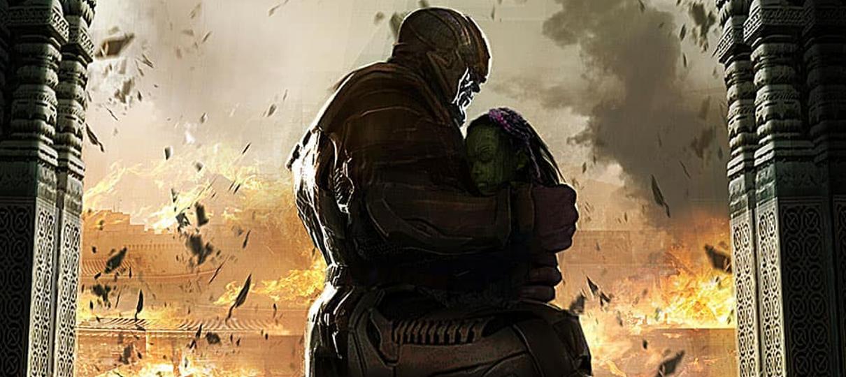 Thanos e Gamora se abraçam em arte de Vingadores: Guerra Infinita