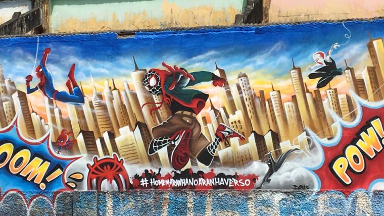 Homem-Aranha: no Aranhaverso é tema de grafites em seis estados do Brasil