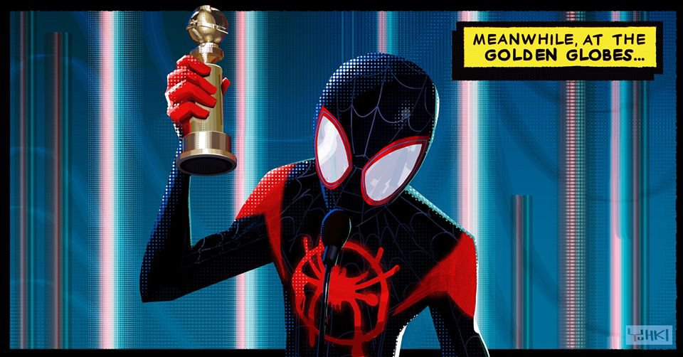 Arte de Aranhaverso feita por Yuhki Demers, artista da Sony Pictures Animation