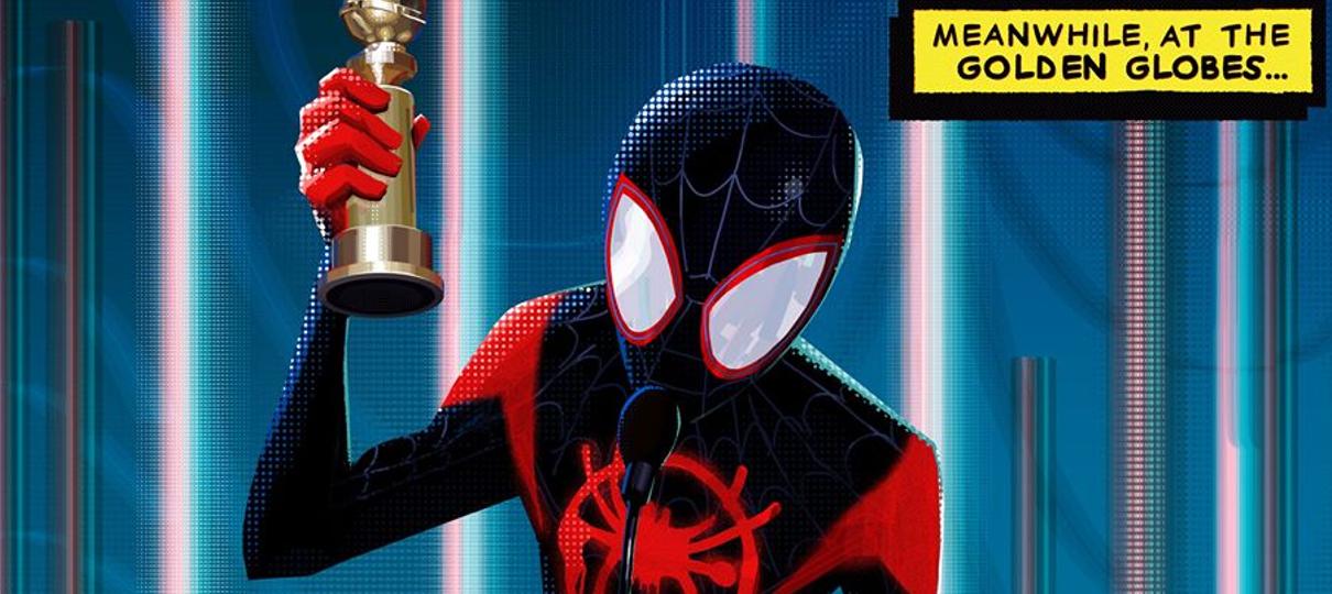 Miles Morales recebe o Globo de Ouro em arte feita para comemorar vitória de Aranhaverso