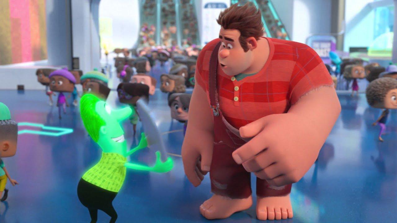 Em WiFi Ralph, a separação entre personagem e cenário é feita com um embaçamento do fundo
