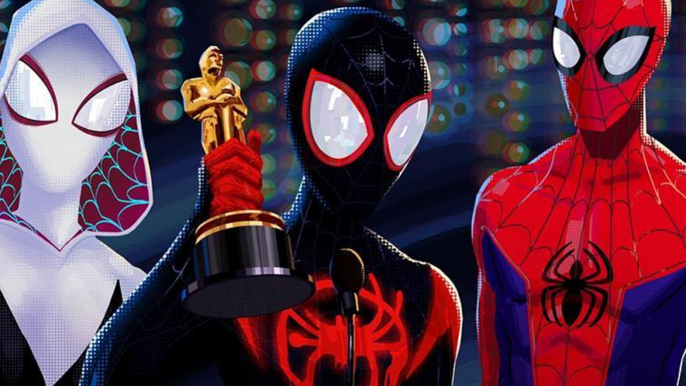 Homem-Aranha no Aranhaverso | Miles Morales segura o Oscar em arte comemorativa