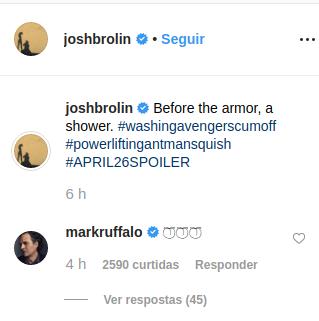 Mark Ruffalo brinca com Josh Brolin e Thanos