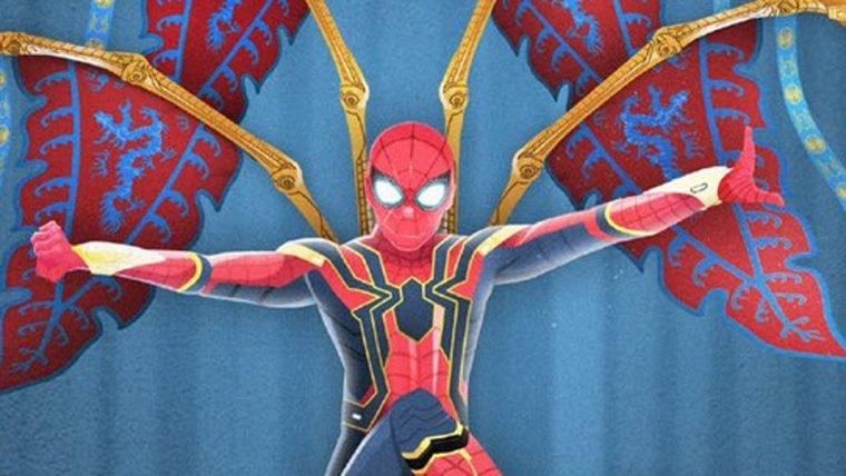 Homem-Aranha: Longe de Casa | Aranha de Ferro estrela pôster chinês