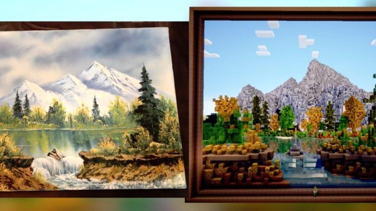 YouTuber recria pintura de Bob Ross dentro de Minecraft (é sério!)