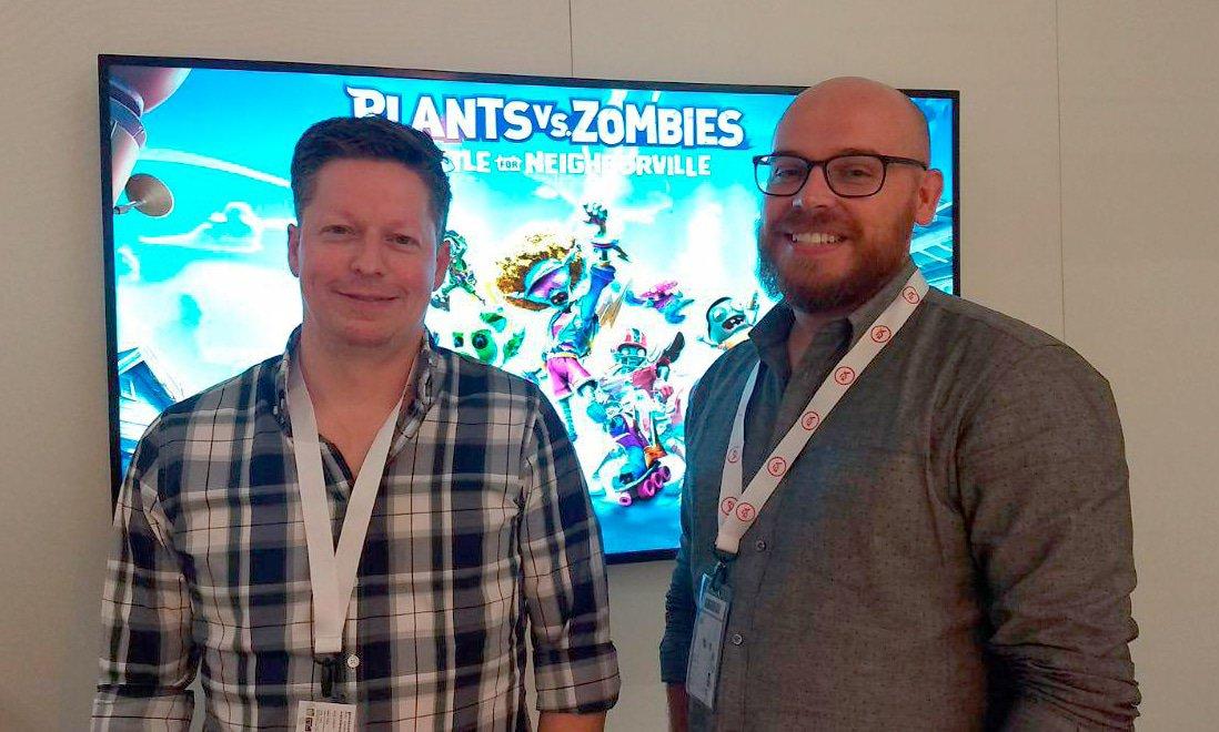 Rob Davidson e Shawn Laker, o diretor e o produtor, respectivamente, de Plants vs Zombies: Battle for Neighborville