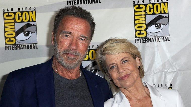 Arnold Schwarzenegger celebra aniversário de Linda Hamilton