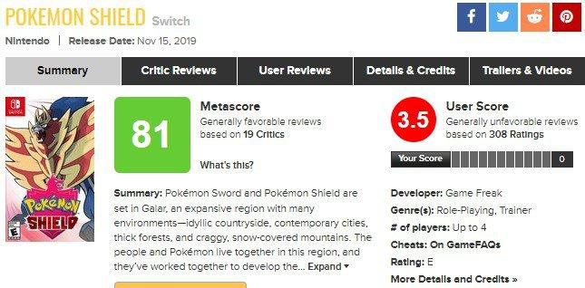 Página de Pokémon Shield no Metacritic