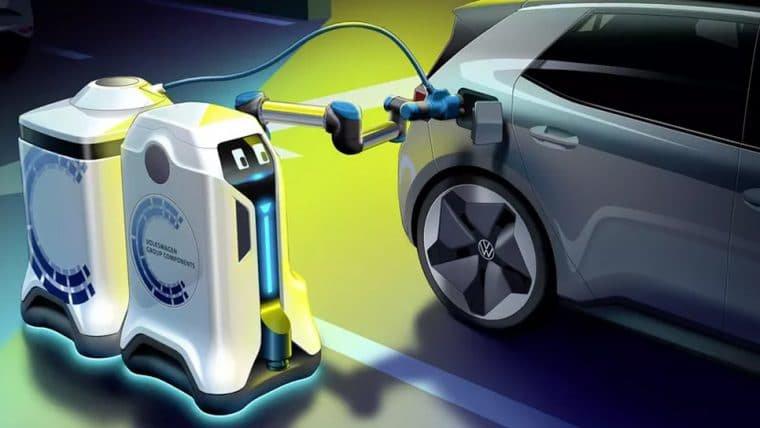 Volkswagen está trabalhando em um robô autônomo capaz de recarregar carros elétricos