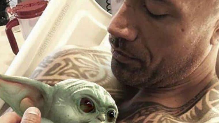 The Rock publica montagem com baby Yoda e aproveita para zoar o Kevin Hart