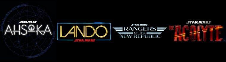 Logo das séries Ahsoka, Lando, Rangers of the New Republic e The Acolyte