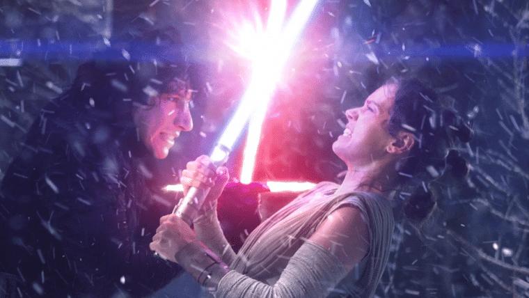 Star Wars: A Ascensão Skywalker | Arte mostra Rey enforcando Kylo Ren usando a Força