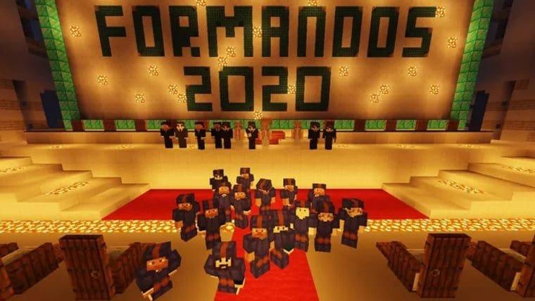 Brasileiros fazem cerimônia de formatura dentro do Minecraft