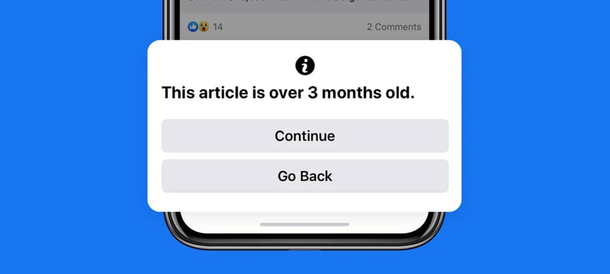 Facebook vai exibir notificação para quem tentar compartilhar notícias antigas