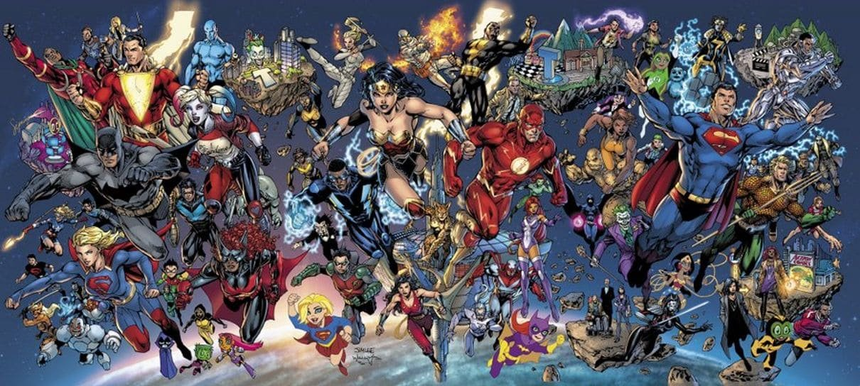 Arte oficial do DC Fandome traz reunião de heróis