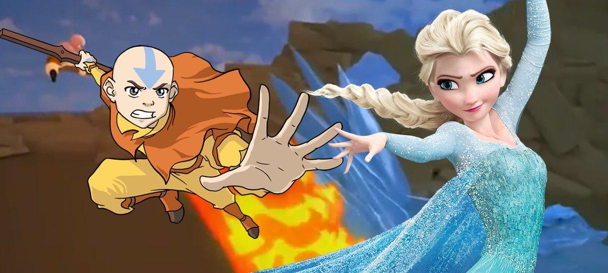 Elsa versus Aang? Vídeo mostra animações feitas por fãs com personagens dobrando elementos