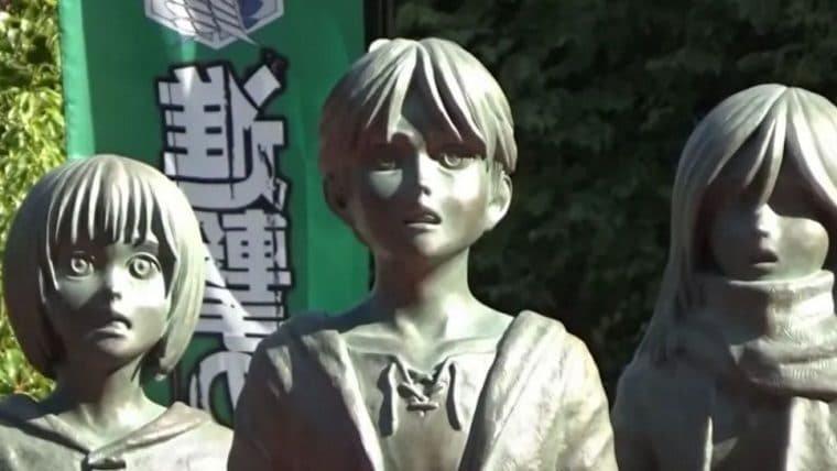 Cidade japonesa escolheu o local perfeito para construir uma estátua de Attack on Titan