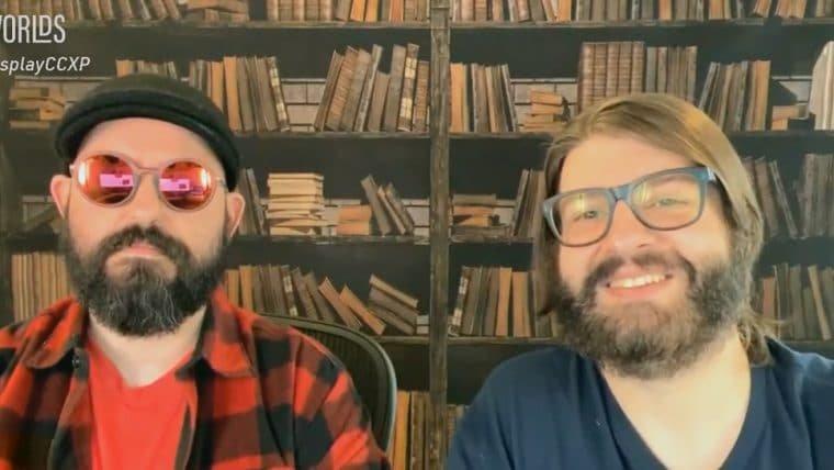 Jovem Nerd e Azaghal falam sobre a campanha do Nerdcast RPG: Coleção Cthulhu em painel