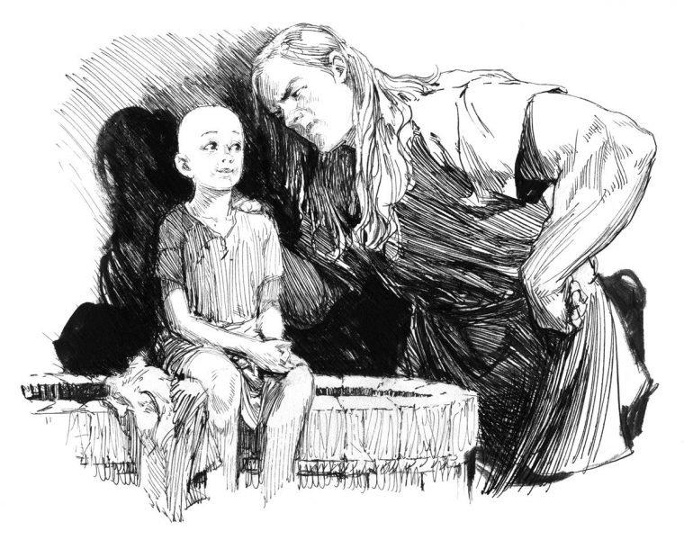 Egg e Dunk, em ilustração do livro O Cavaleiro dos Sete Reinos (LeYa)