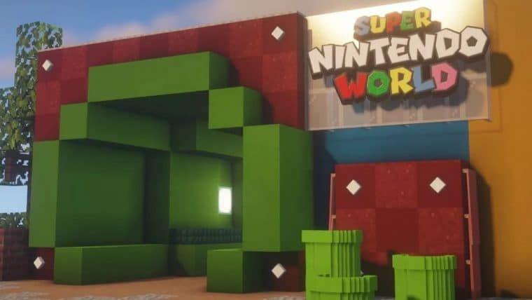 Fã recria Super Nintendo World no Minecraft
