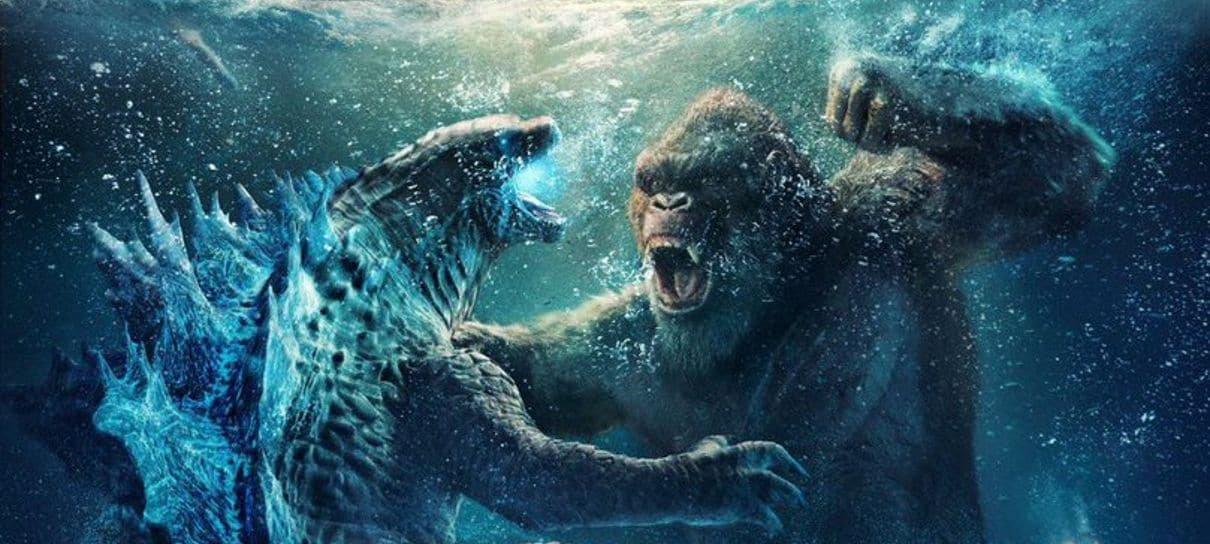 Godzilla vs Kong   Pôster chinês mostra uma batalha na água