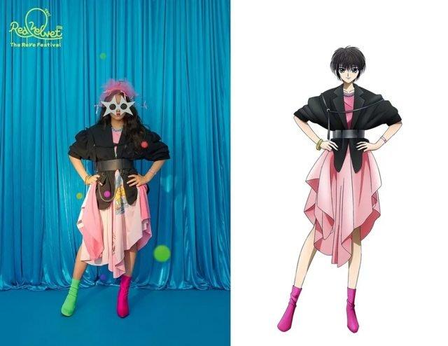 Imagem do grupo Red Velvet usada como base para o design de personagem do anime