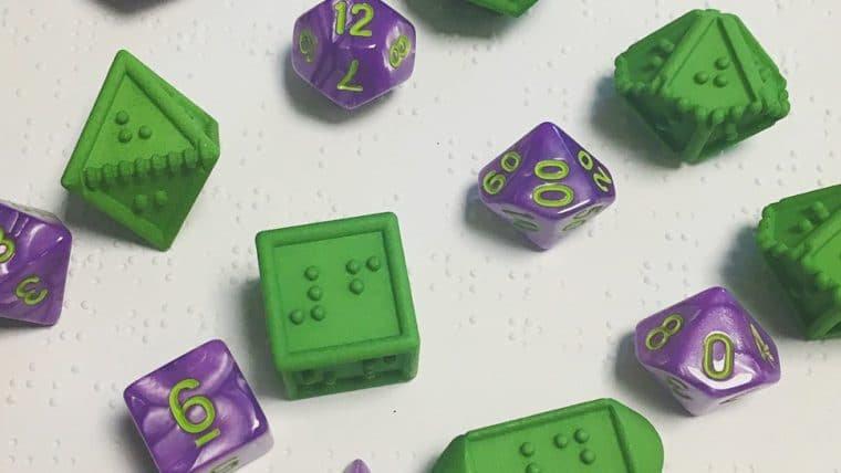 Projeto DOTS RPG disponibiliza dados com números em braille