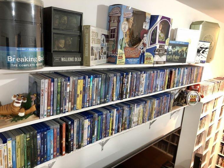 Coleção de Blu-rays e DVDs