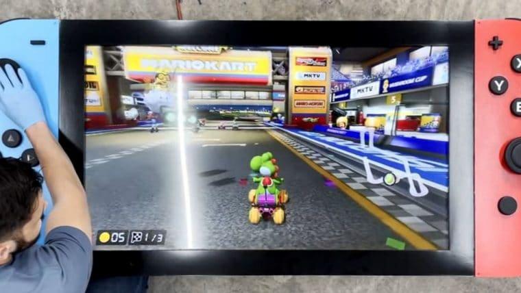 Homem constrói Nintendo Switch funcional de quase 2 metros de largura