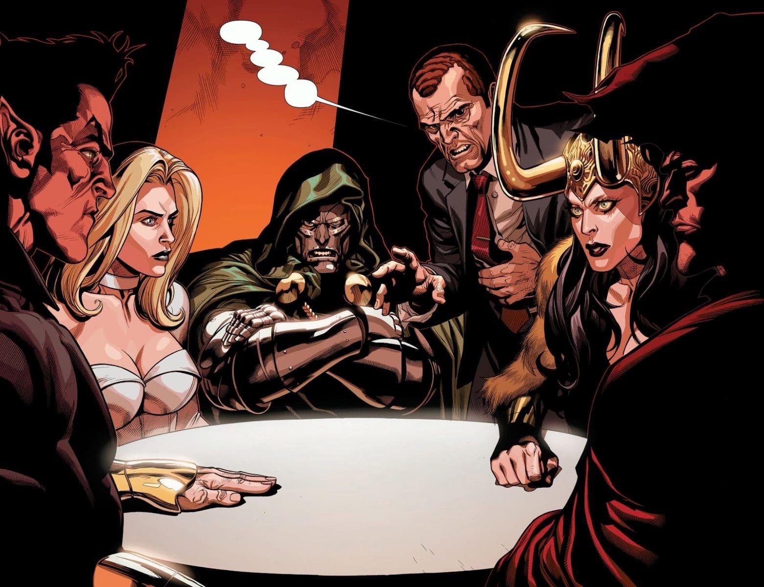 Namor, Emma Frost, Doutor Destino, Norman Osbourn e Capuz em uma reunião da Cabala (Divulgação/Marvel)