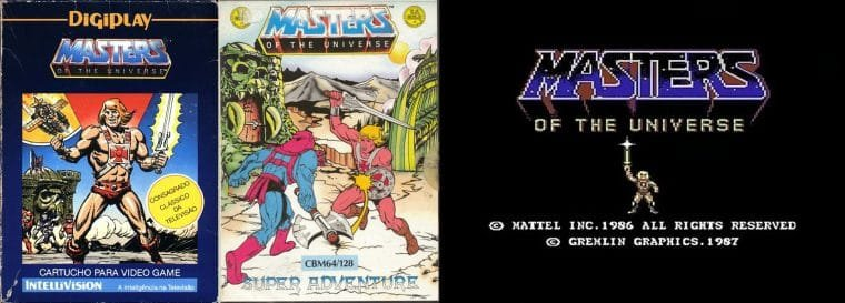 Capas dos games Masters of the Universe: The Power of He-Man, Masters of the Universe: Super Adventure e Masters of the Universe: The Arcade Game