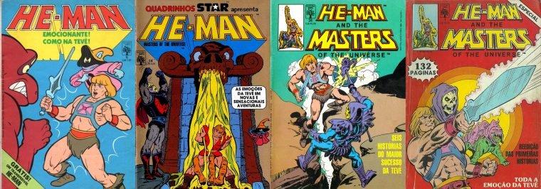 Capas das HQs do He-Man no Brasil (Divulgação/Abril)