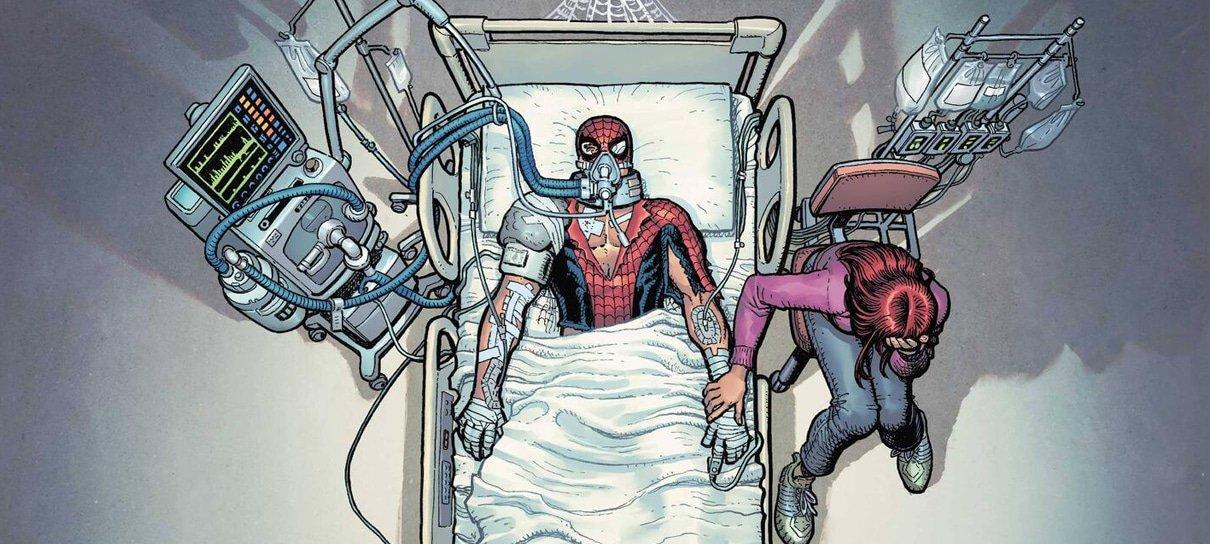 Homem-Aranha aparece hospitalizado em estado grave em capa da nova HQ