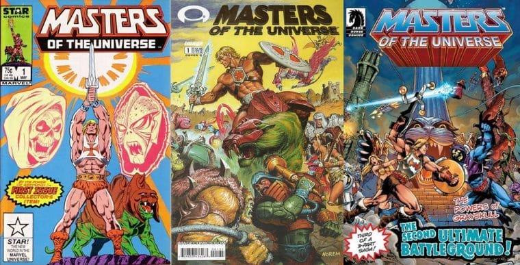 Capas das HQs de Masters of the Universe na Marvel, Image e Dark Horse (Divulgação)
