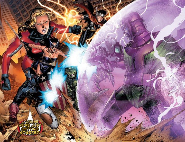 Jovens Vingadores lutam contra Kang nas HQs (Divulgação/Marvel)