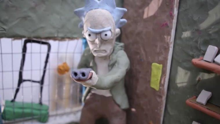 Vídeo stop motion de Rick and Morty mostra Rick com uma escopeta