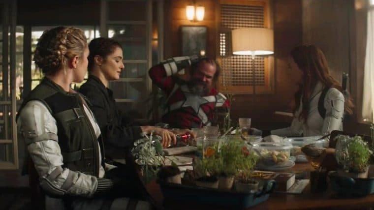Florence Pugh, Rachel Weisz, David Harbour e Scarlett Johansson em Viúva Negra (Divulgação/Marvel)