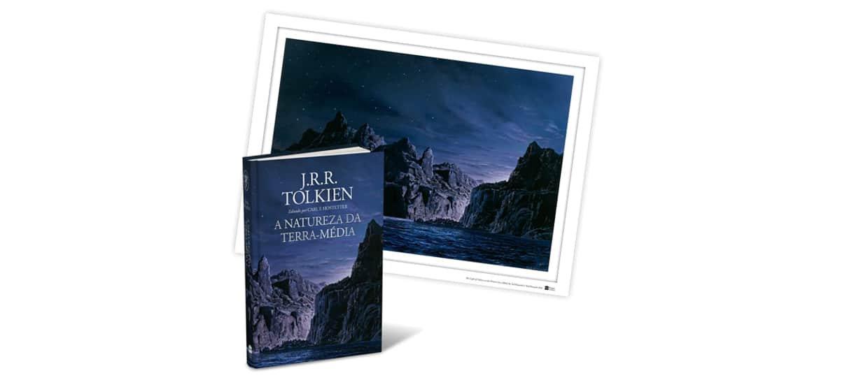 A Natureza da Terra Média, um dos livros da biblioteca de J.R.R Tolkien, em fundo branco.
